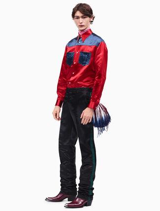 CALVIN KLEIN satin uniform stripe pants