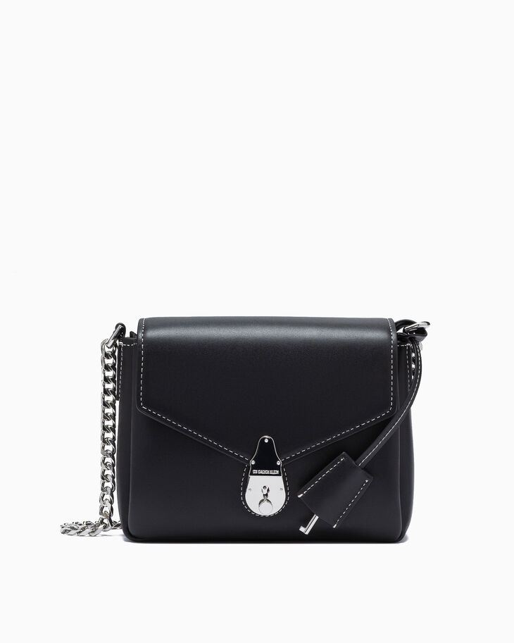 CALVIN KLEIN CHAINED SMALL LEATHER HANDBAG