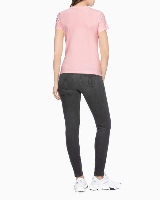 CALVIN KLEIN 여성 모노그램 메탈릭 아웃라인 박스 티셔츠