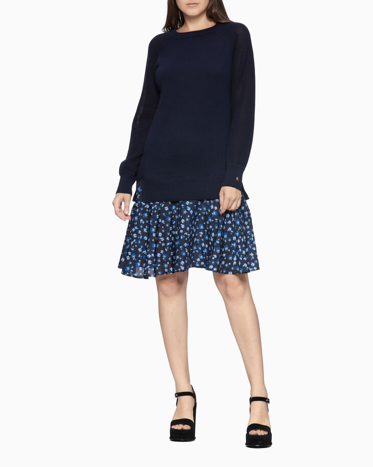 CALVIN KLEIN PERFORATED FLORAL HEM DRESS