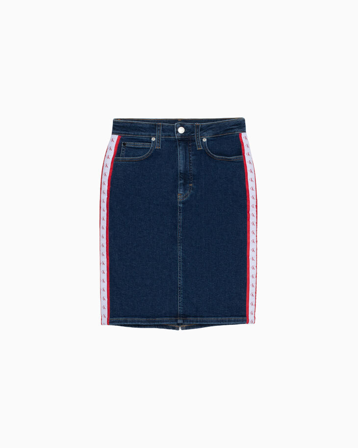 CALVIN KLEIN MONOGRAM TAPE PENCIL DENIM SKIRT