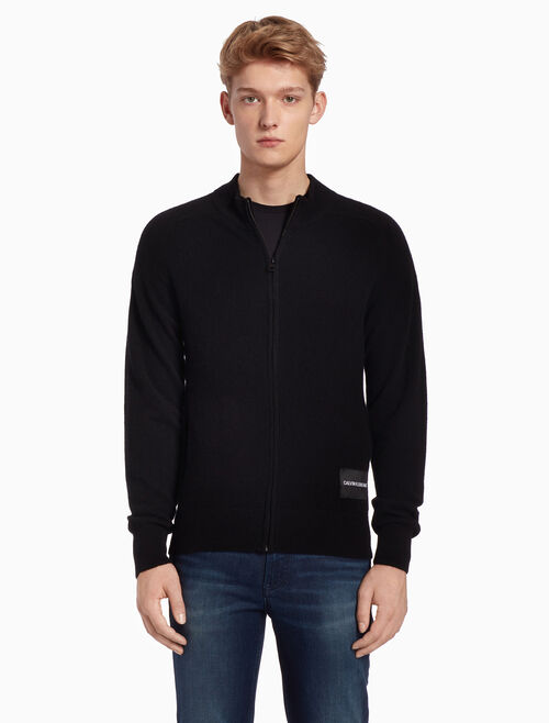 CALVIN KLEIN CASHMERE ZIP UP SWEATER