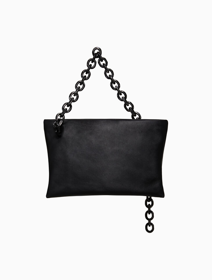 CALVIN KLEIN SCULL SOFT CHAIN CLUTCH IN LUXE CALF LEATHER