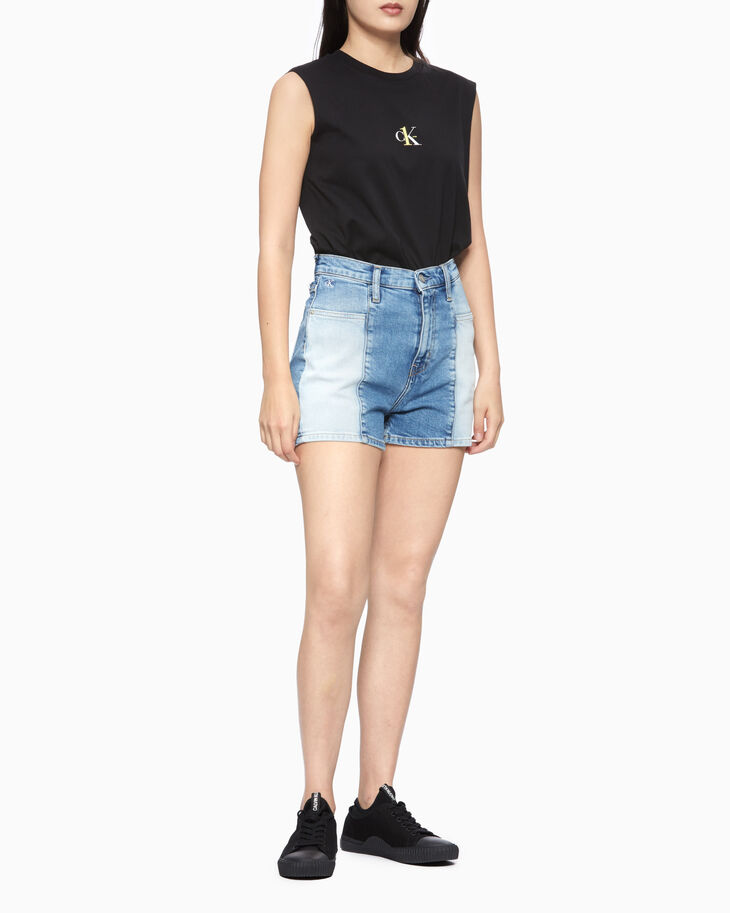 CALVIN KLEIN HIGH RISE BLEACH DENIM SHORTS