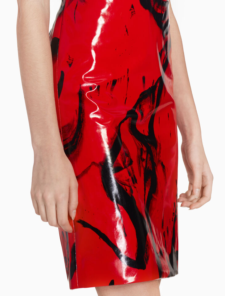 CALVIN KLEIN ALL OVER INK PRINT PENCIL SKIRT