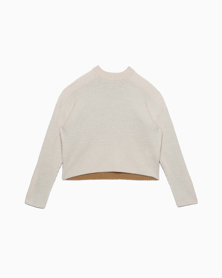 CALVIN KLEIN COLOR BLOCK CROPPED WOOL PULLOVER