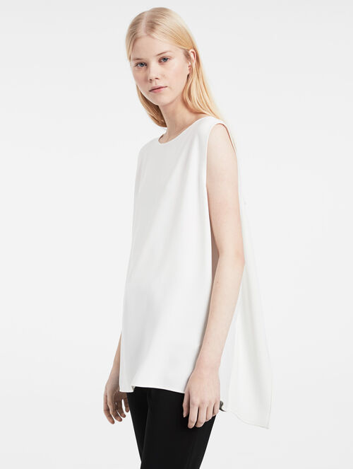 CALVIN KLEIN HEAVY STRETCH CREPE SLASH TOP