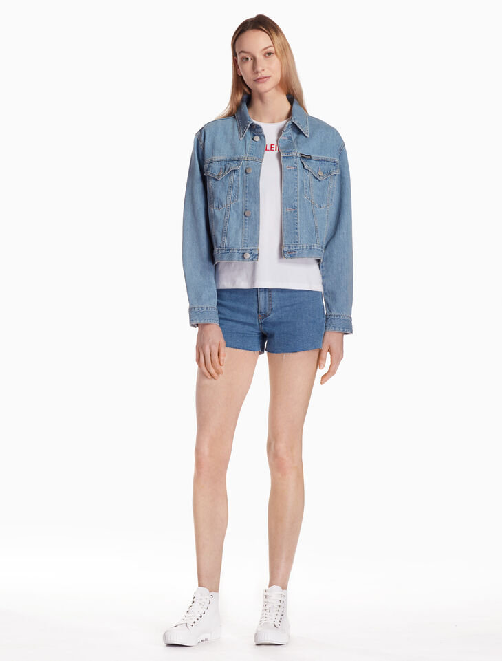 CALVIN KLEIN HIGH RISE DENIM SHORTS