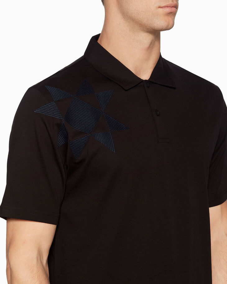CALVIN KLEIN GEOMETRIC EMBROIDERY POLO SHIRT
