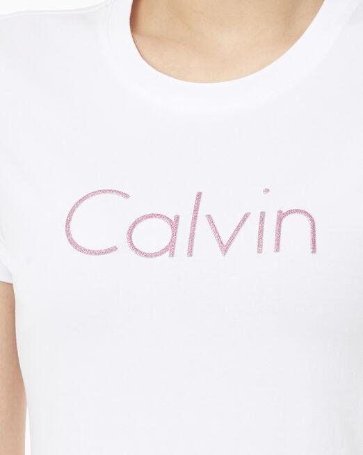 CALVIN KLEIN 여성 퍼프 CALVIN 스트레이트핏 반팔 티셔츠