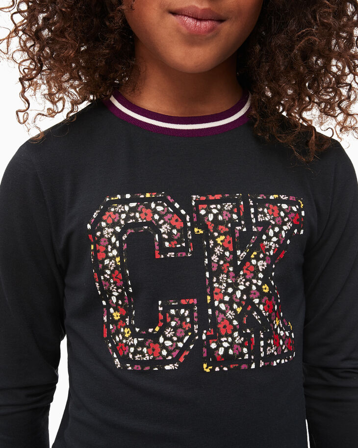 CALVIN KLEIN GIRLS FLORAL LOGO LONG SLEEVE TOP