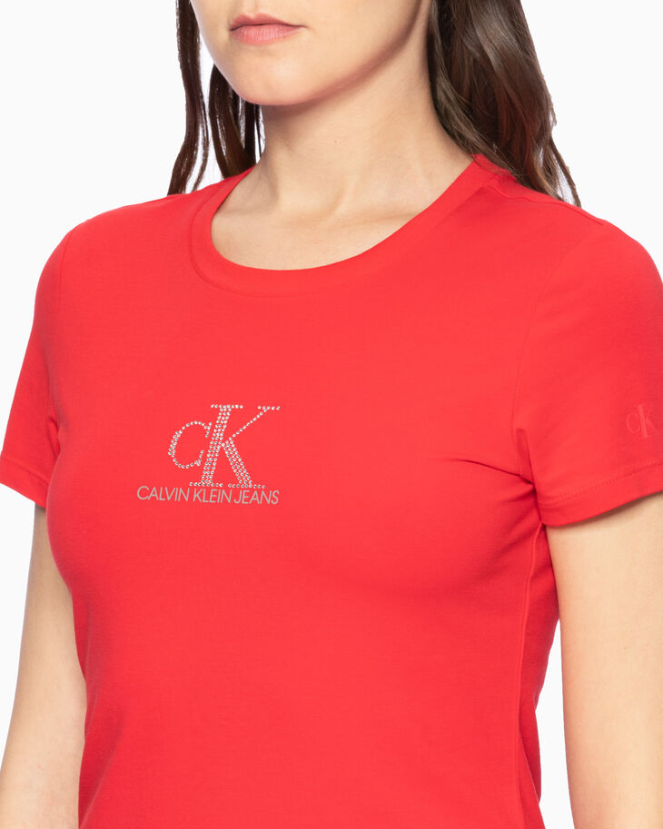 CALVIN KLEIN CRYSTAL ロゴスリム T シャツ