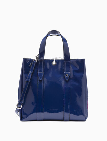CALVIN KLEIN SHINY LEATHER CITY TOTE