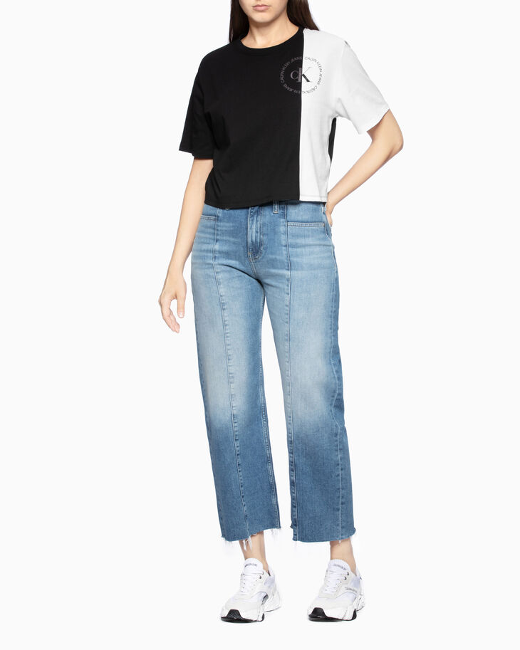 CALVIN KLEIN CROPPED COLOR BOCK TEE