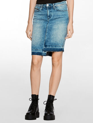 CALVIN KLEIN HIGH RISE UNSUAL BLUE SKIRT