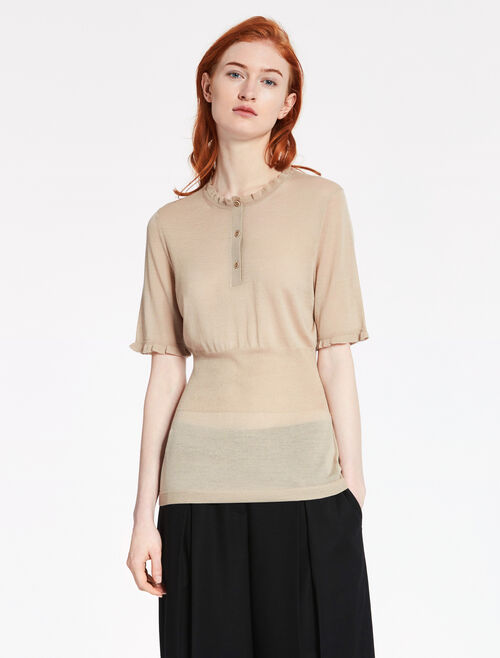 CALVIN KLEIN LTWT SUPERFINE WOOL Short Sleeves HALF BUTTON TOP
