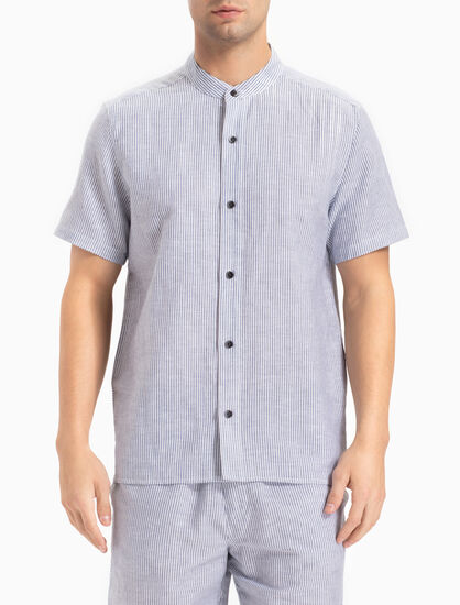 CALVIN KLEIN COTTON LINEN BUTTON-DOWN TOP