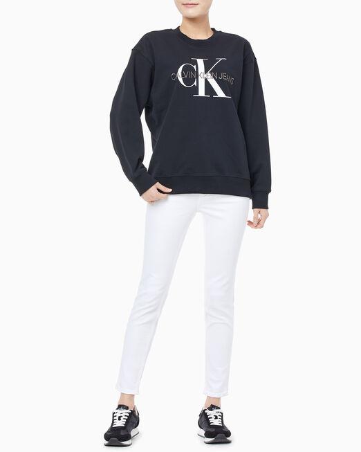 CALVIN KLEIN 여성 모노그램 로고 크루넥 스웨트셔츠