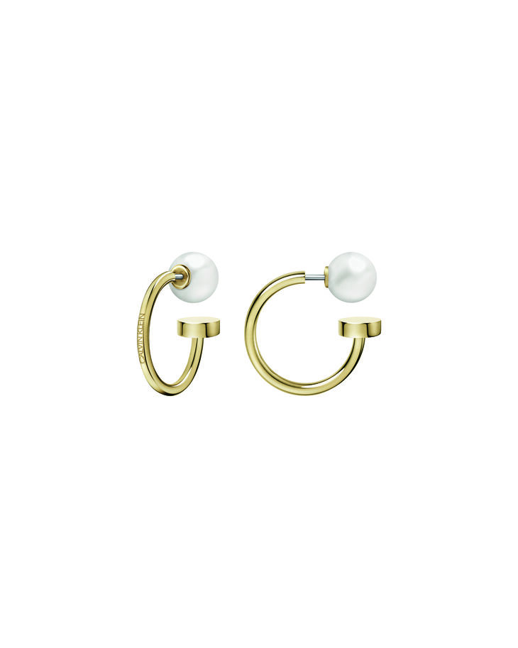 CALVIN KLEIN BUBBLY GOLD PEARL HOOP EARRINGS