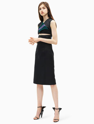 CALVIN KLEIN marching band satin cut-out fitted dress