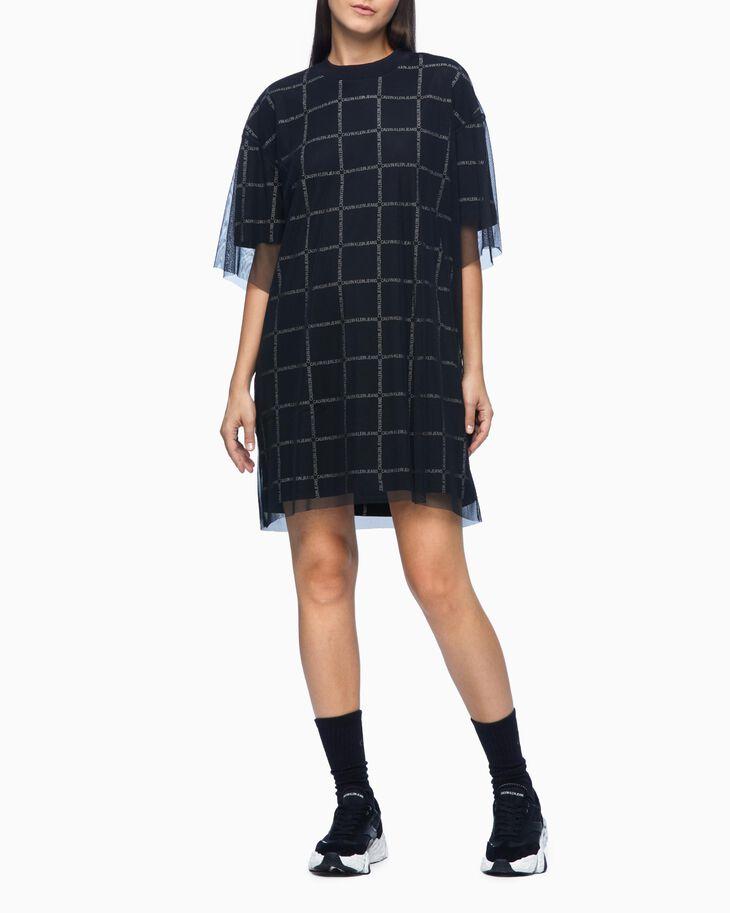 CALVIN KLEIN DOUBLE LAYER LOGO PATTERN T-SHIRT DRESS