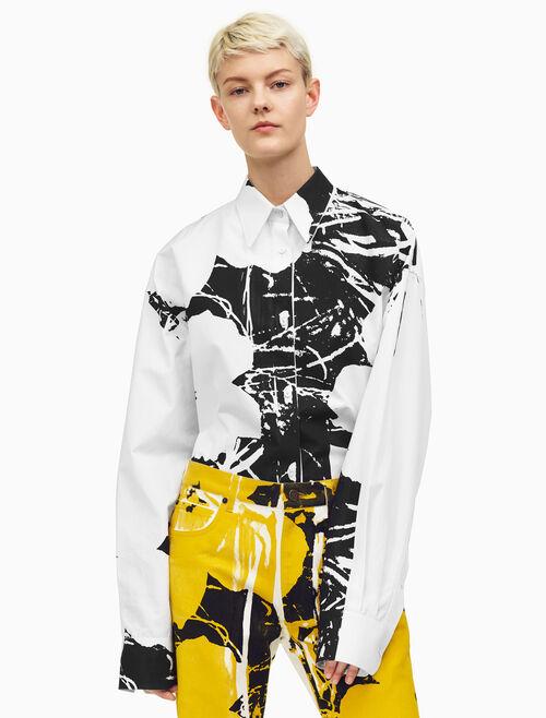 CALVIN KLEIN オーバーサイズ フラワーズ ポプリンシャツ