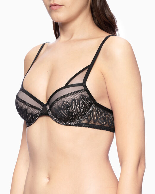 CALVIN KLEIN CK BLACK WAVE LACE LIGHTLY LINED DEMI BRA