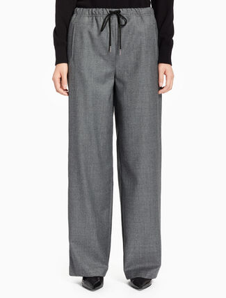 CALVIN KLEIN STRAIGHT WOOL PANTS