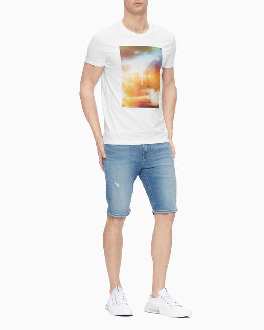 CALVIN KLEIN 남성 슬림핏 모노그램 그래픽 프린트 반팔 티셔츠