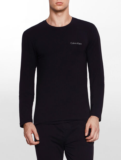 CALVIN KLEIN CUSTOMIZED STRETCH LOUNGEWEAR Long Sleeves CREW NECK TOP
