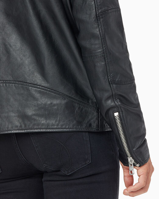 CALVIN KLEIN 남성 심플 레이서 레더 재킷