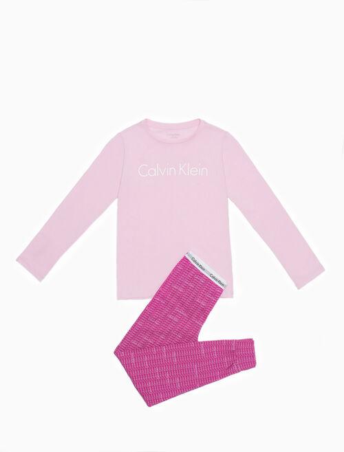 CALVIN KLEIN 女孩款 MODERN COTTON 長袖針織睡衣套裝