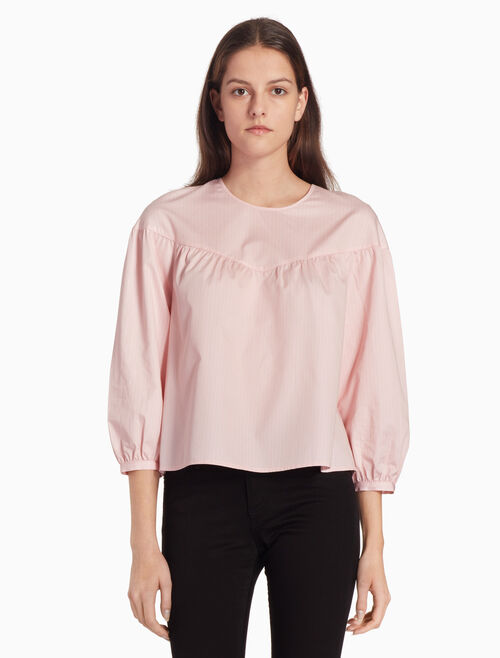 CALVIN KLEIN WOVEN TOP WITH GATHERED YOKE