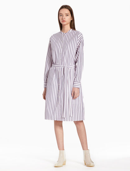 CALVIN KLEIN STRIPED POPLIN SHIRT DRESS