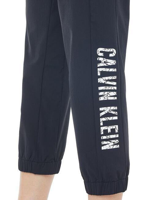 CALVIN KLEIN 여성 마블 로고 크롭 우븐 팬츠
