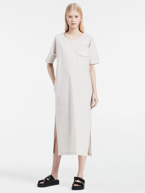 CALVIN KLEIN WASHED POPLIN SHORT SLEEVE DRESS