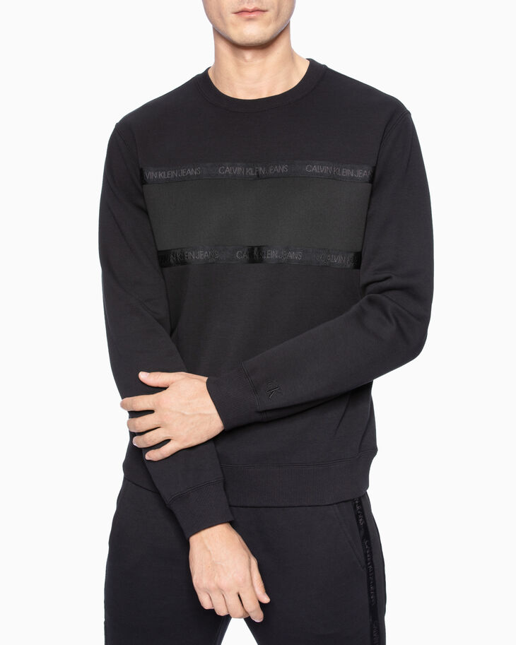 CALVIN KLEIN INSTITUTIONAL LOGO TAPE SWEATSHIRT