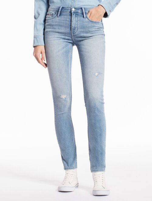 CALVIN KLEIN LINGER LIGHT Distressed STRAIGHT SKINNY JEANS