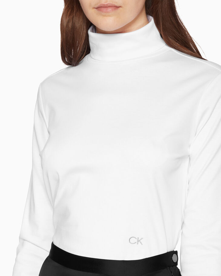 CALVIN KLEIN TURTLENECK TOP WITH EMBROIDERED LOGO