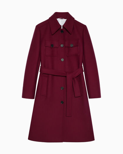 CALVIN KLEIN TWILL DRESS COAT WITH BELT