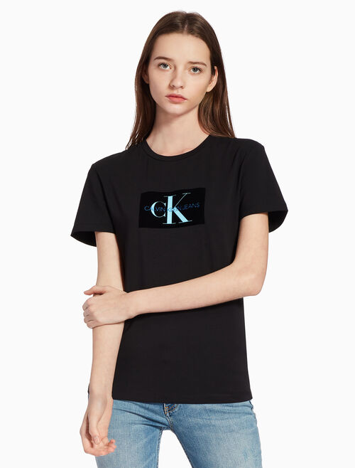 CALVIN KLEIN FLOCKED MONOGRAM ロゴ T シャツ