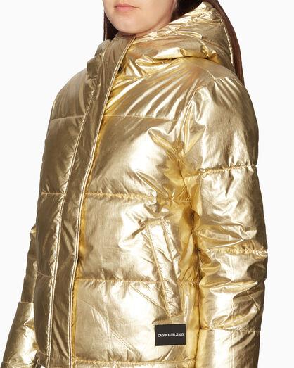 CALVIN KLEIN METALLIC GOLD 퍼퍼 재킷