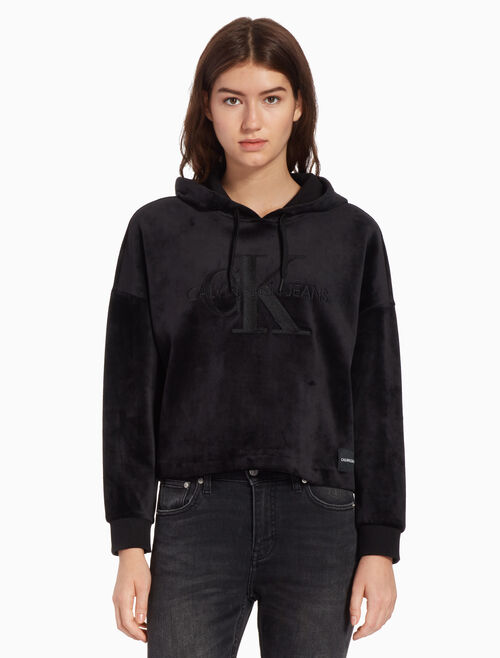 CALVIN KLEIN VELOUR HOODED SWEATSHIRT