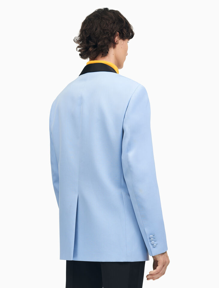 CALVIN KLEIN 울 개버딘 숄 칼라 박시 턱시도 재킷