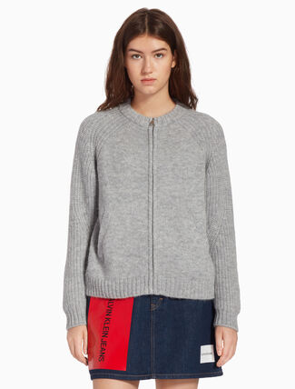 CALVIN KLEIN KNIT ZIP UP CARDIGAN