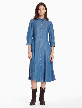 CALVIN KLEIN WASHED DENIM SHIRT DRESS