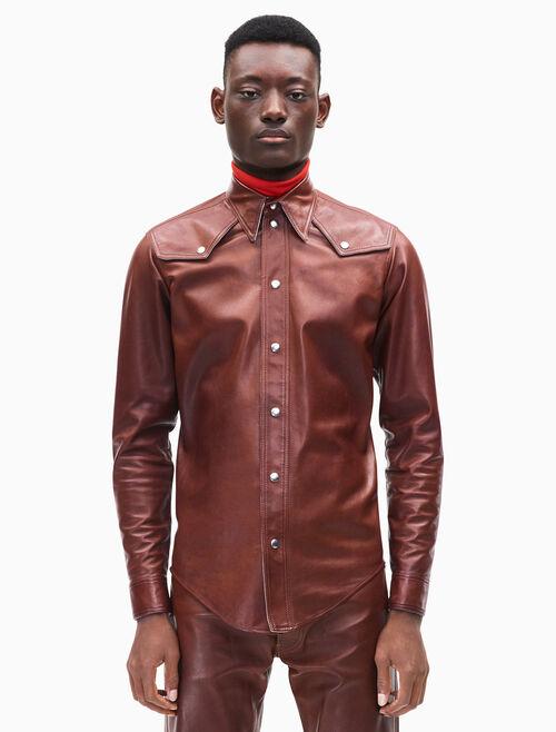 CALVIN KLEIN western leather jean shirt