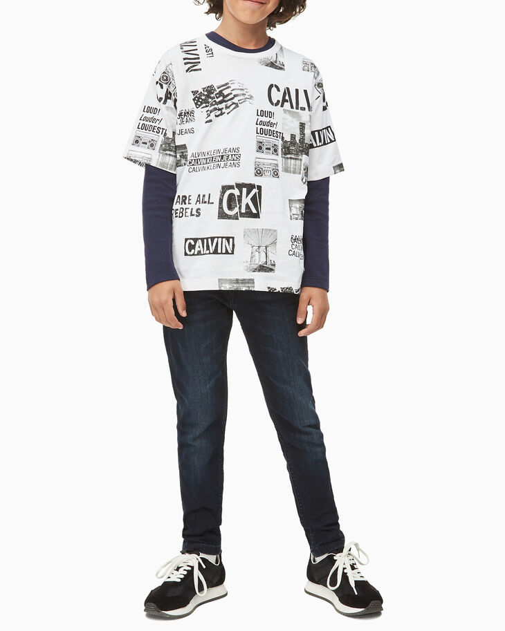 CALVIN KLEIN BOYS ALL OVER PUNK PRINT 上衣