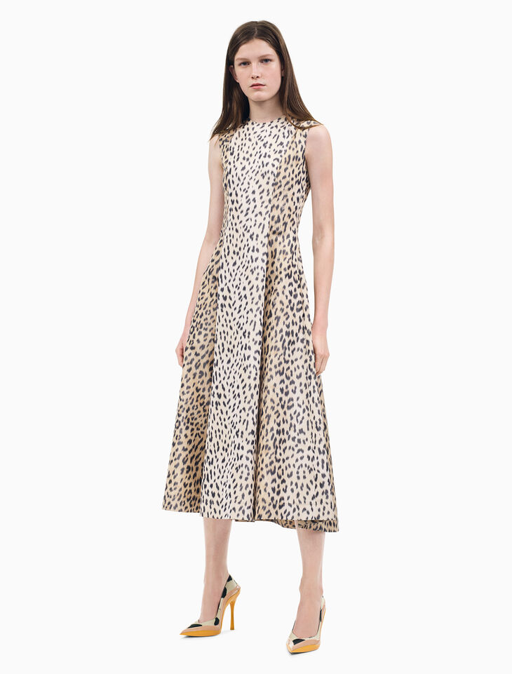 CALVIN KLEIN A-LINE SLEEVELESS DRESS IN LEOPARD PRINT TWILL