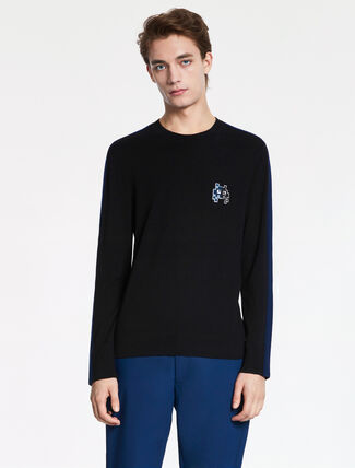CALVIN KLEIN SOFT WOOL COTTON Long Sleeves TOP WITH MONSTER BADGE